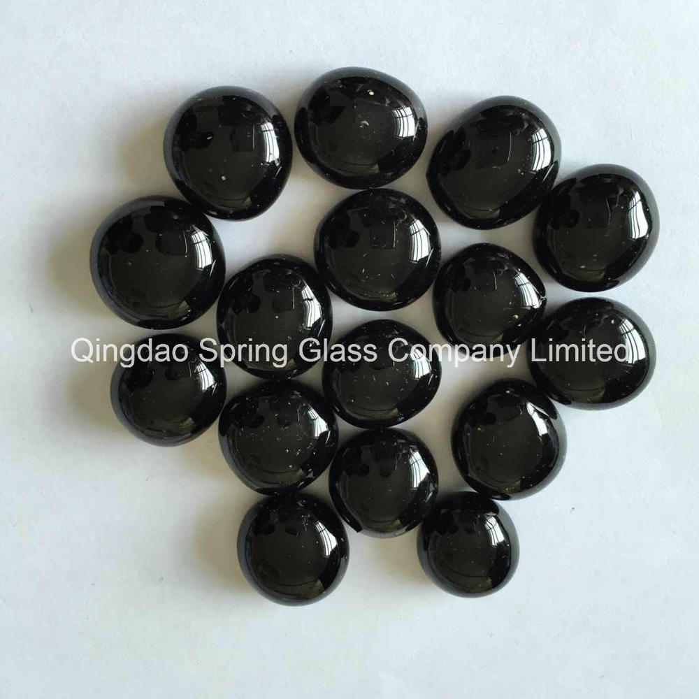 1-3 Cm Black Color Glass Pebbles Directly From Factory