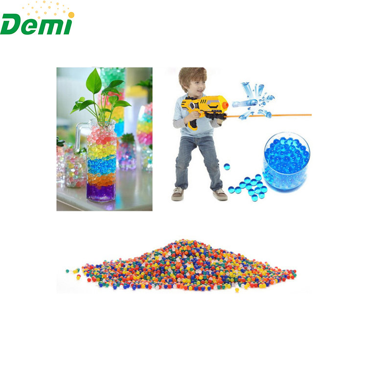 Demi high quality 15 colors decorative colorful hydrogel for plants, crystal water beads