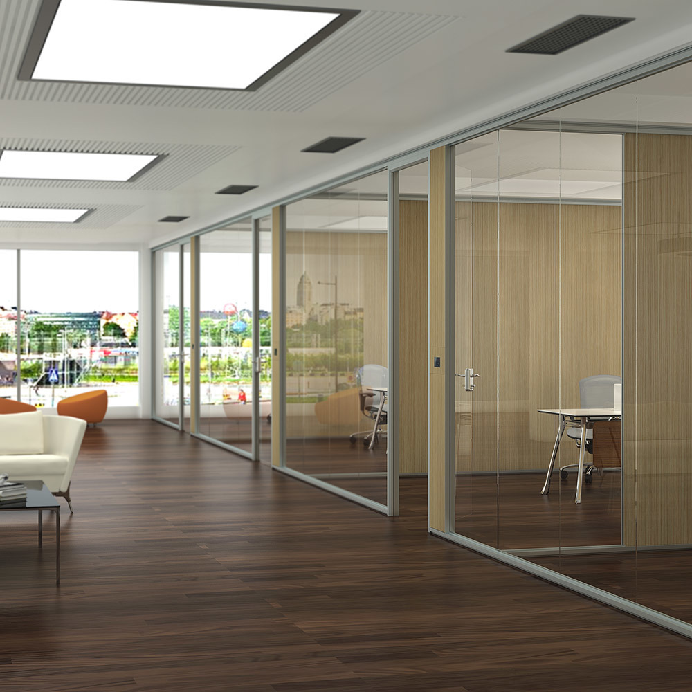 Glass partitions walls for office and meeting room