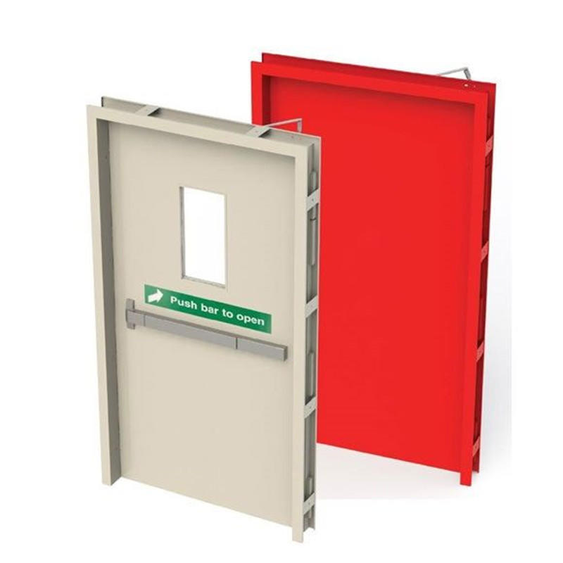 1000mm*2100mm view window fire exit door 1.5h fire resistant time with panic bar