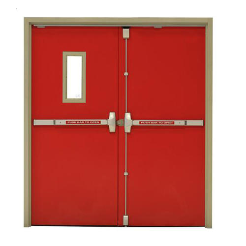 Red Color Steel Material With Perlite 50 mm door Panel Thickness Fireproof Door Manufacturer