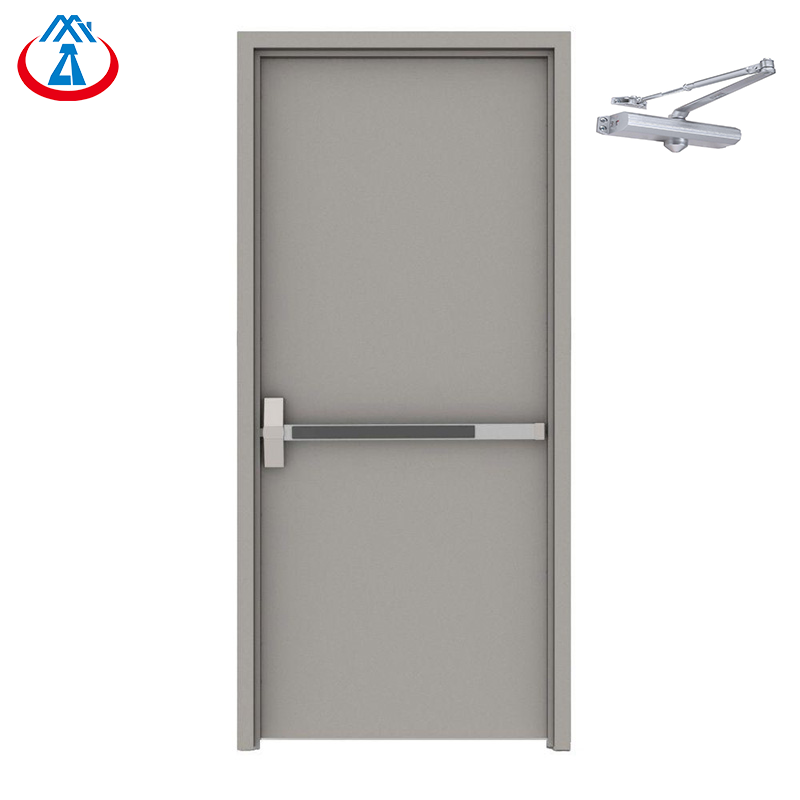 RTS Guangzhou 990mm*2090mm Single Emergency Steel Fire Exit Door with Panic Bar