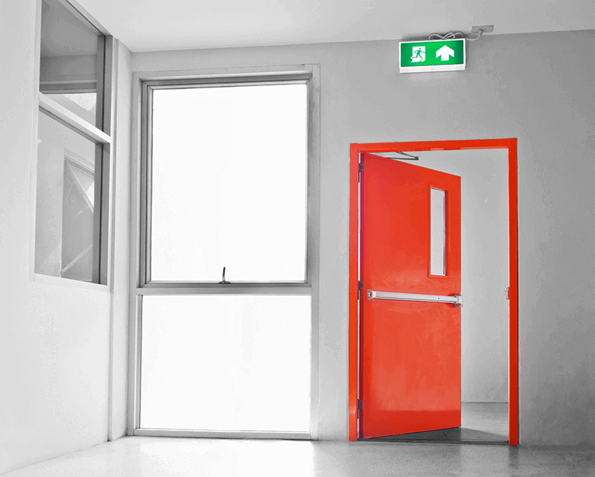Guangzhou fire door manufacturers external fire exit doors with glass window