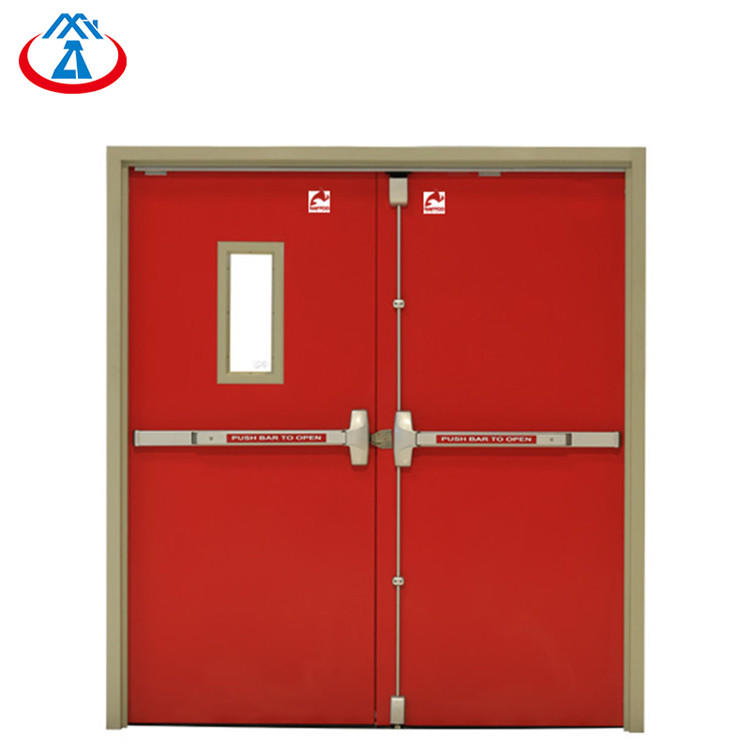 Acceptable price double swing leaf metal steel fireproof fire rated door from China
