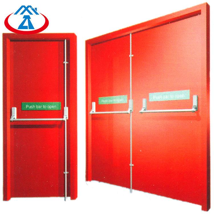 Red 1600mmW*2200mmH Double Fire Doors90mins fireproof timeEmergency Steel Fire Exit Door with Panic Bar