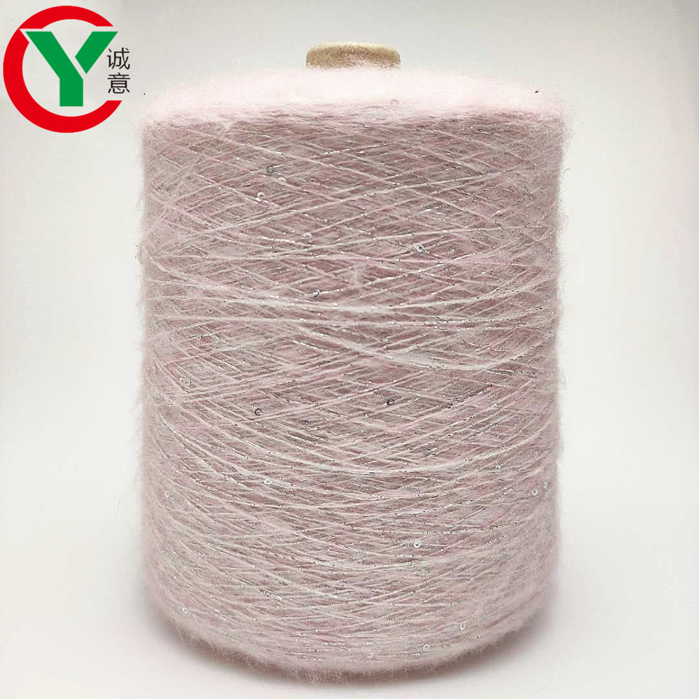 Manufacturers 1/14Nm acrylic polyesterblended sequin yarn for hand knitting yarn