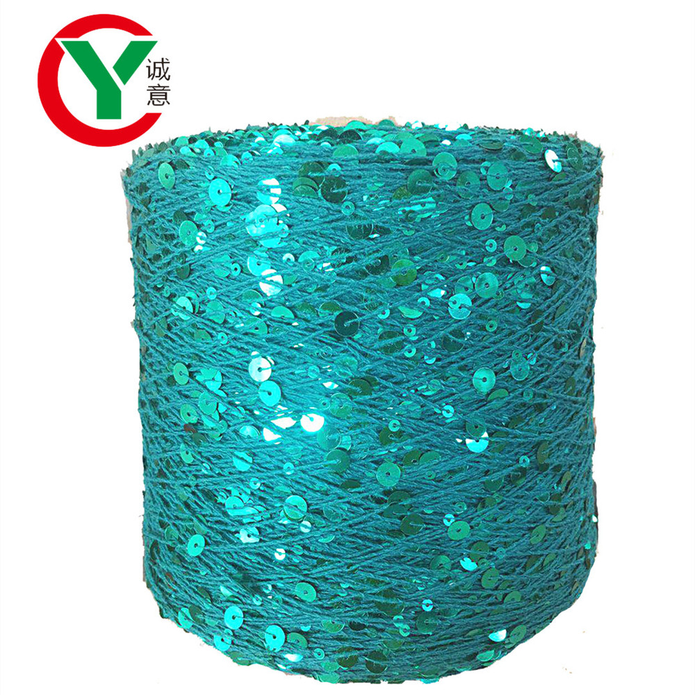 Hot sale in Russia New color 3MM+6MM sequin glitter yarn 100% cottonyarn for hand knitting