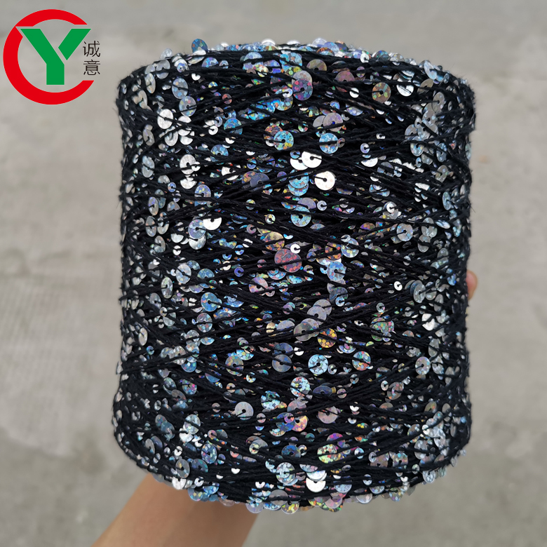 Amazon top sales rainbow 3MM+6MM sequin yarn 100% cotton fancy yarn for hand knitting yarn in stock