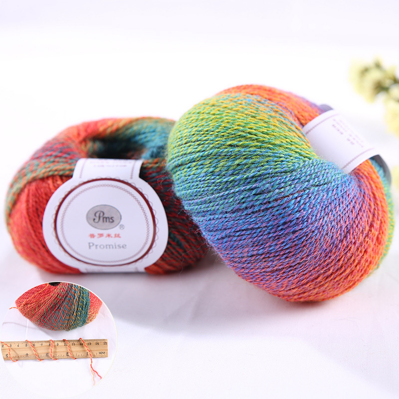 multicolorgradient color fancy wool blending ball/ anti-pilling80% wool scrubby yarn space dyedfor matchingsweater