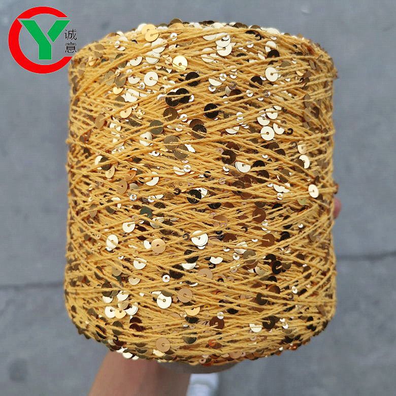 hot sell many color Paillette hand knitting yarn / fancy 3MM+6MM sequin through on 100% cotton thread yarn