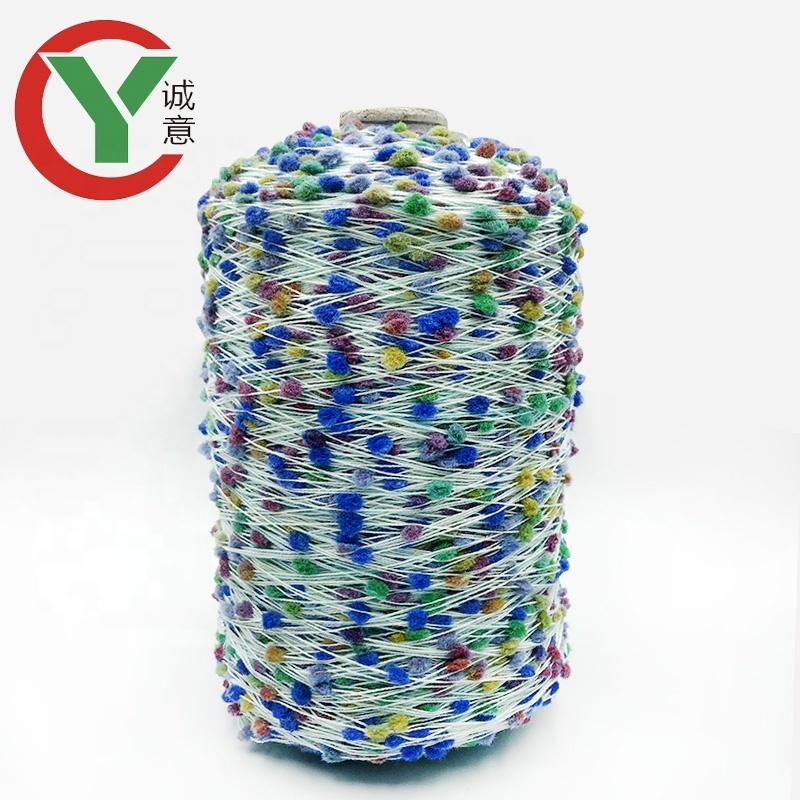 Wholesale colorful polyester nylon blended pom pom yarn for knitting