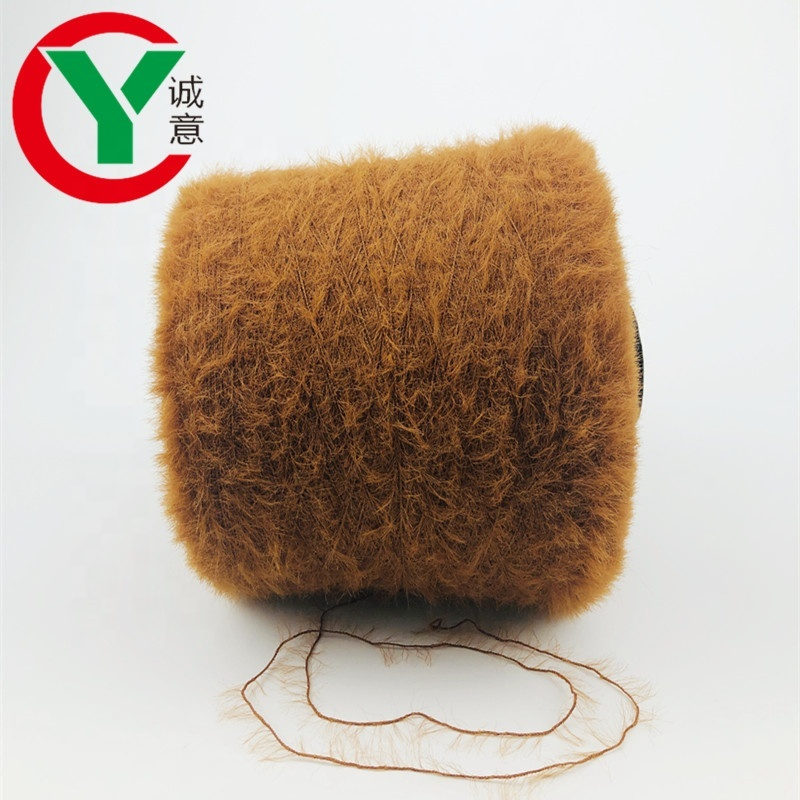 Long fur minkyarn for wintersock soft hand feel not shed hair / %100 nylon feather yarnsfor collar