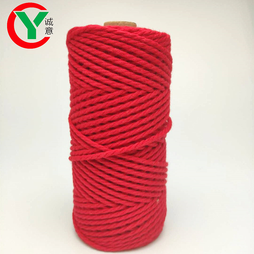 Wholesale DIY wall decorative natural twisted cotton cord macrame cord 4mm