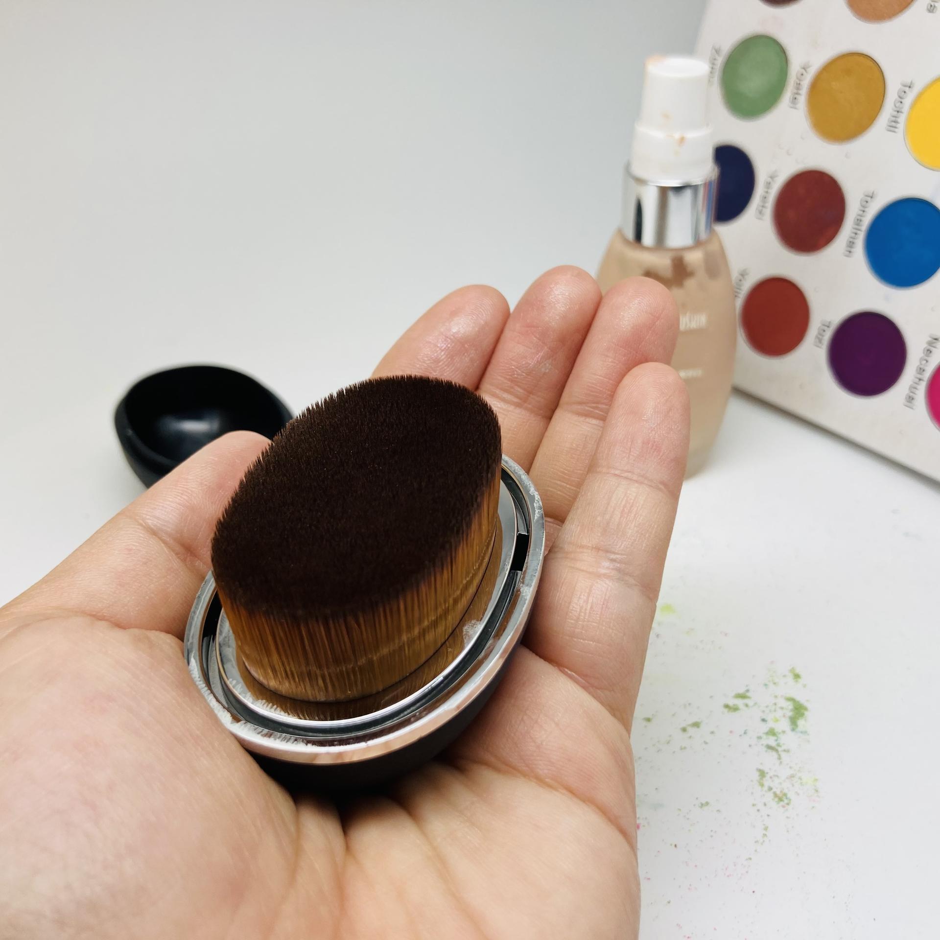 New Oval plastic magic box cute cosmetic powder foundation makeup brush manufacture