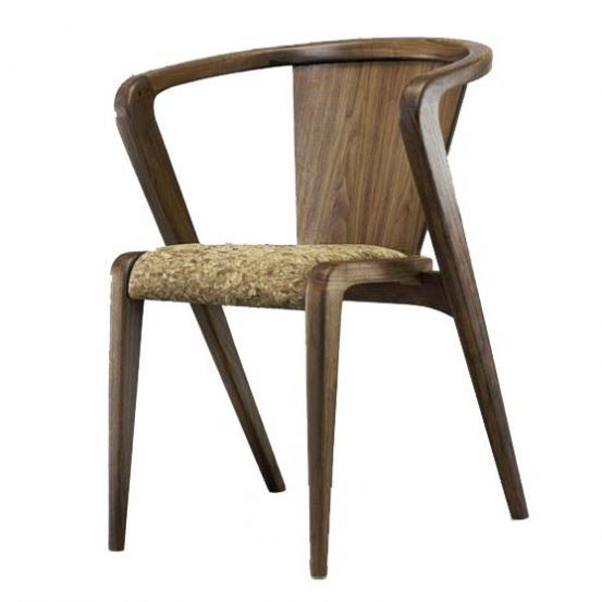 Luxury designer fabric solid wood dining chair