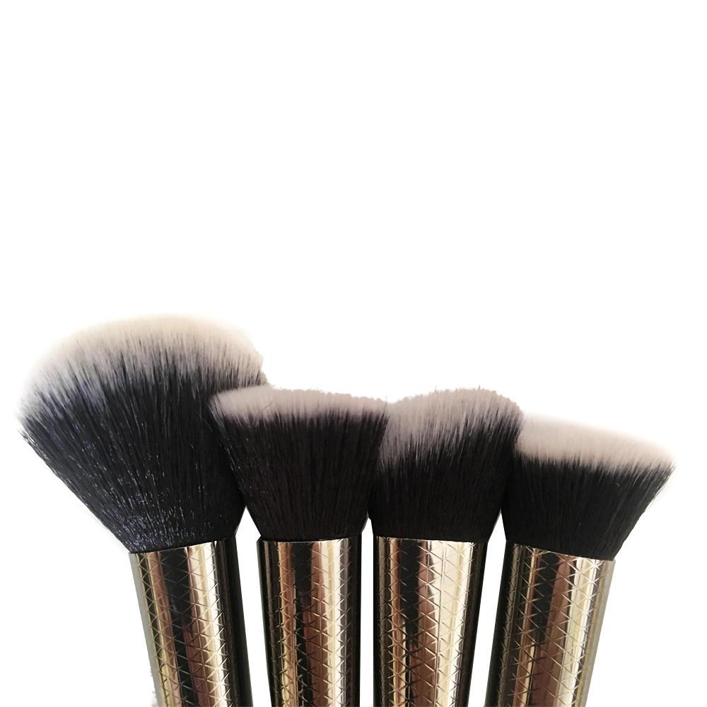 New Unicorn Style 4pcs Cosmetic brush Plastic Handle Private Label Rainbow Makeup Brush Set