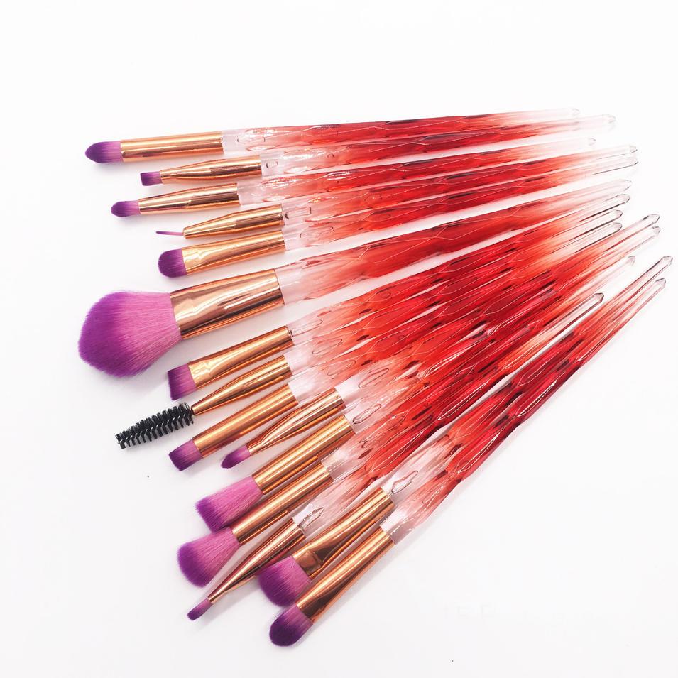 15pcs red glitter blush custom logo dense diamond crystal handle makeup brush