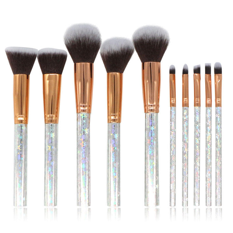 10pcs Glitter Set with Cosmetic Bag Shiny Star Crystal marble Makeup Brush