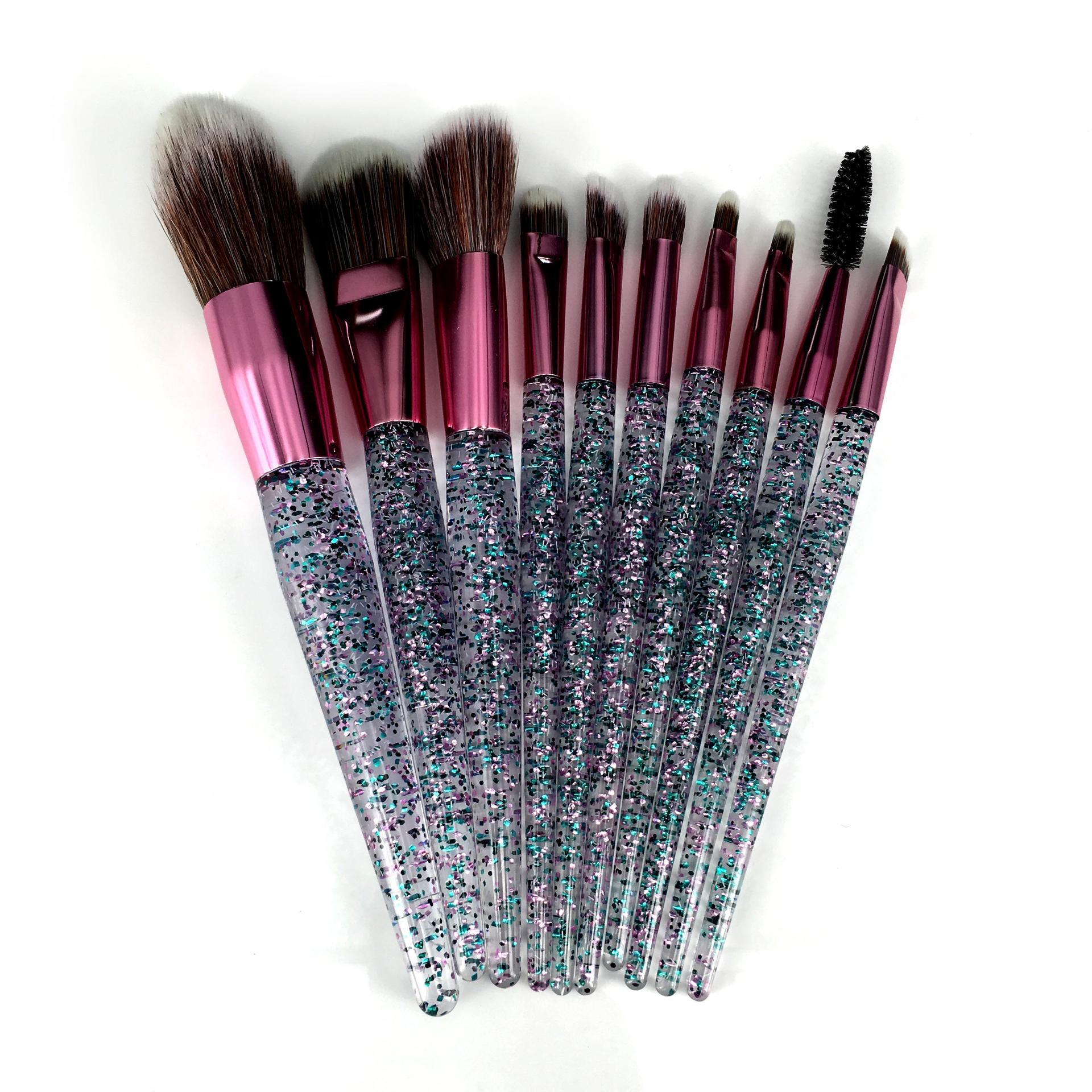 Pink packing Custom Logo Glitter crystal handle 10 pcs Wholesale Makeup Brush Set