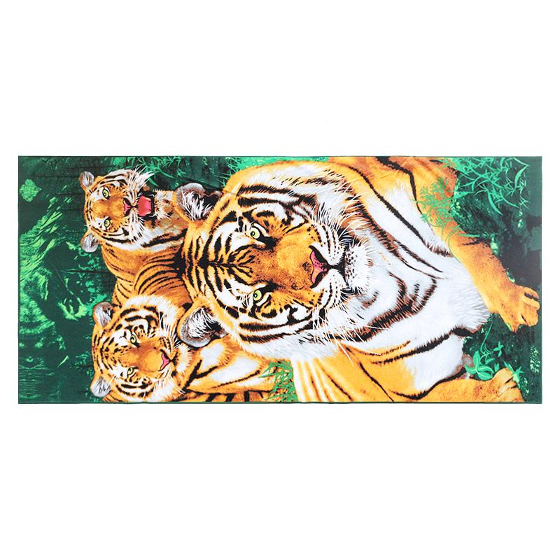 China manufacturer custom suede microfiber reactive printed beach towel leopard tiger animal print