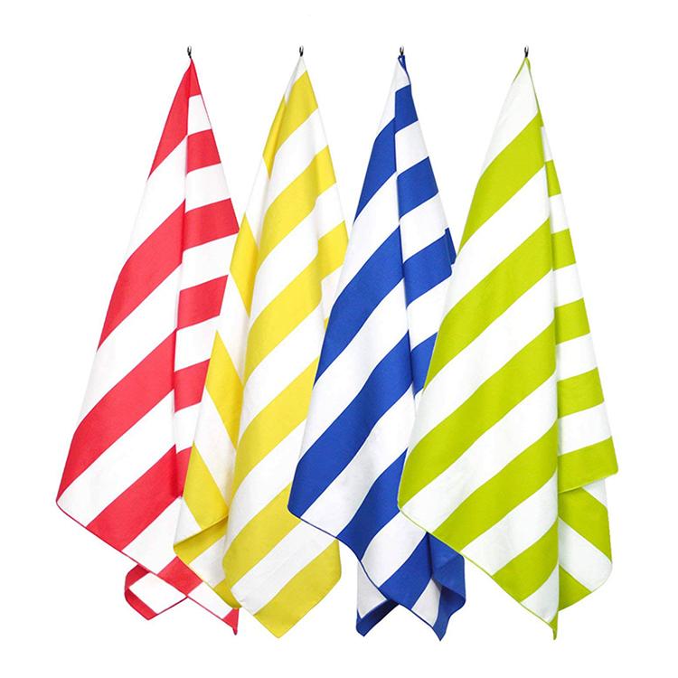 Promotional Sand Free Microfiber Stripe Beach Towel with Logo