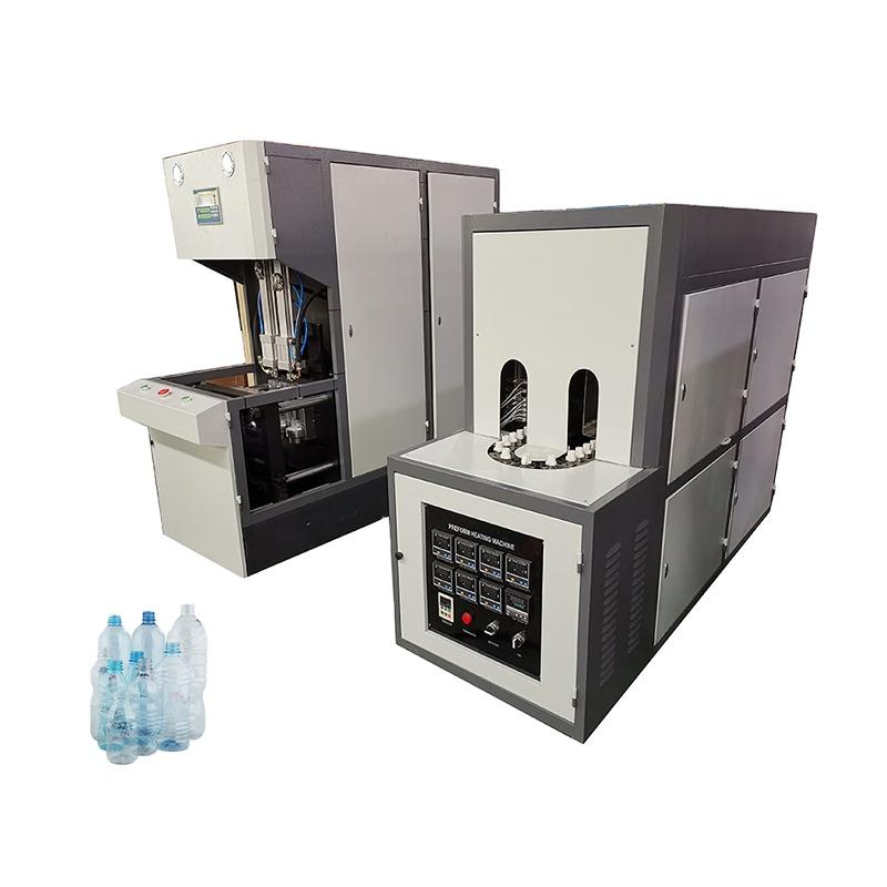 semi auto 2 cavity plastic pet small mineral water bottle stretch blow molding machine