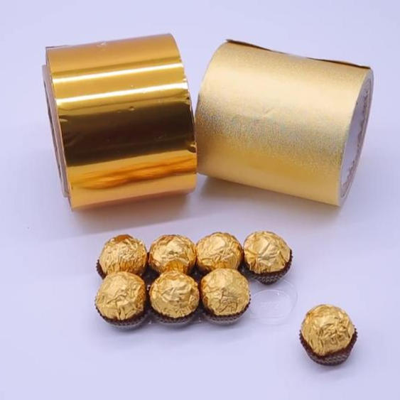 Custom Golden Aluminum Foil wrapping Paper for Chocolate Candy Wrapping Food Packaging Paper