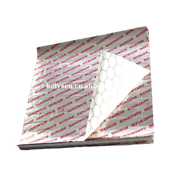 Insulated Foil Hamburger Wrapping Paper Sheets