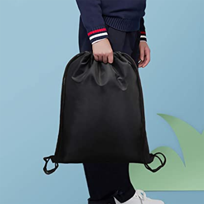 mochilas Best price Interesting Durable in use string bagE-co friendly black drawstring bag polyester