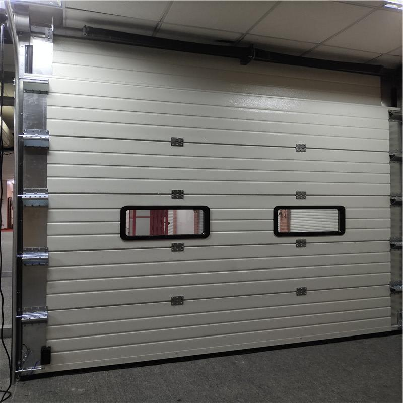 2500mm*2600mm White industrial overrhead sectional door with two view windows electric lift up door
