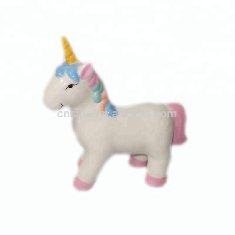 Custom hand painting mini unicorn statue ceramic figurine for kids gifts
