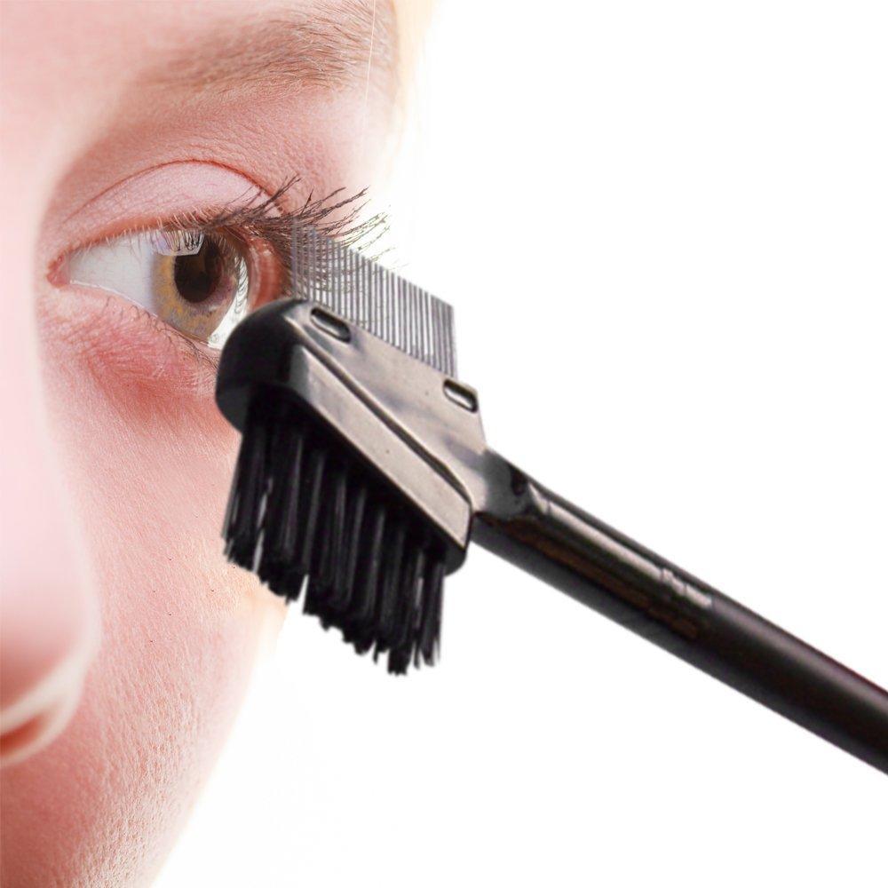 High quality portable black double side eyelash brush dual use eyelash comb
