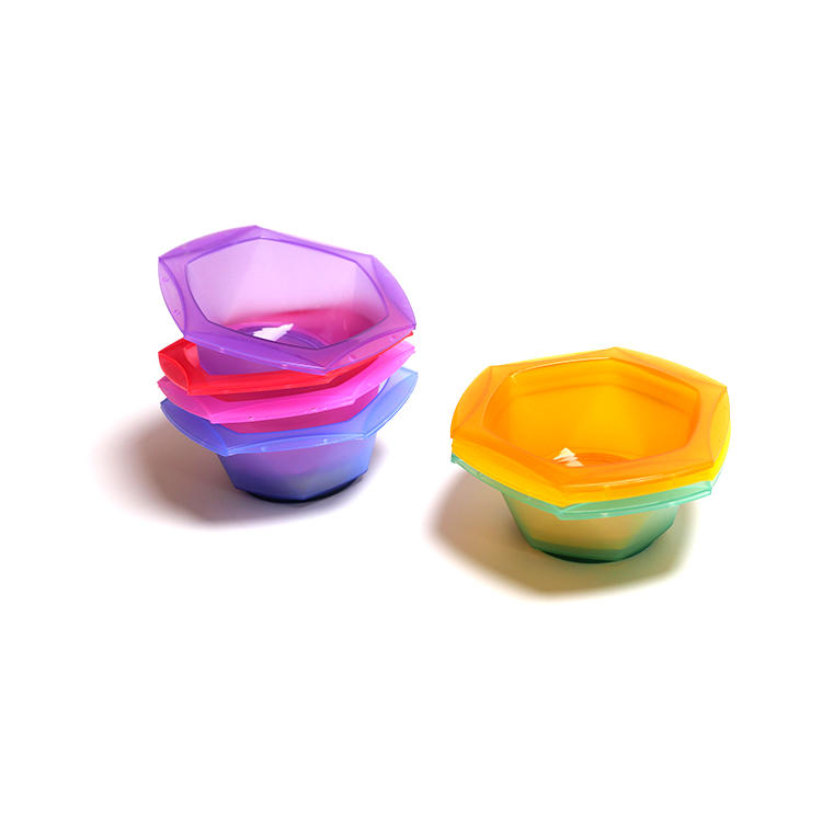 New design salon hair plastic dye colored mixing tint bowls with brush
