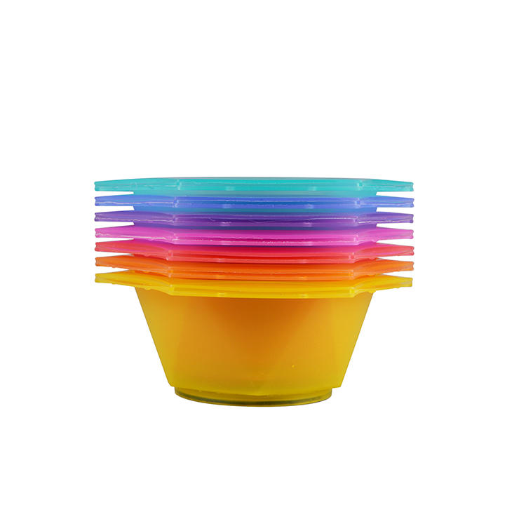 Salon plastic colorful rainbow recycle tint bowl and brush set