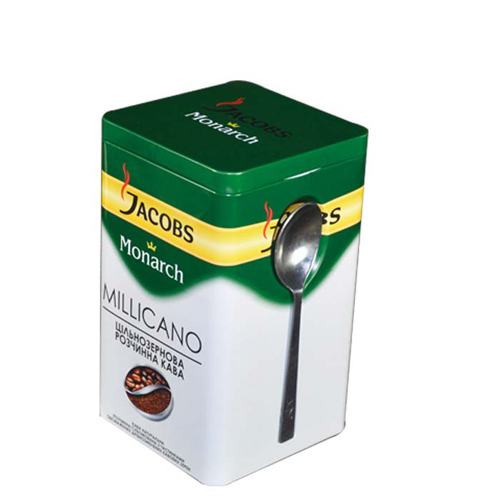 high quality airtight rectangular coffee tin with metal spoon