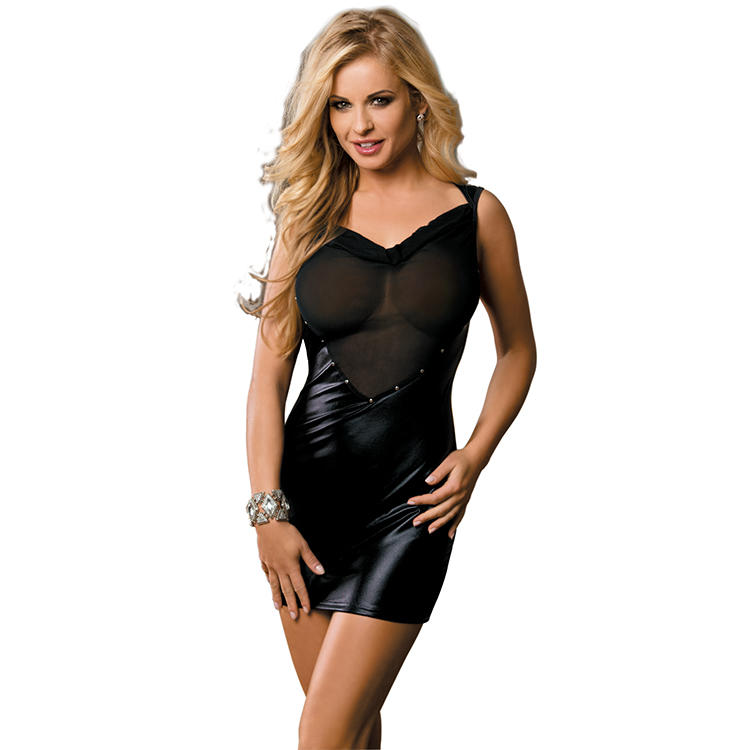 2018 Newest design hot sale fashionable style sexy exclusive clubwear dresses vinyl clubwear dress sexy black clubwear