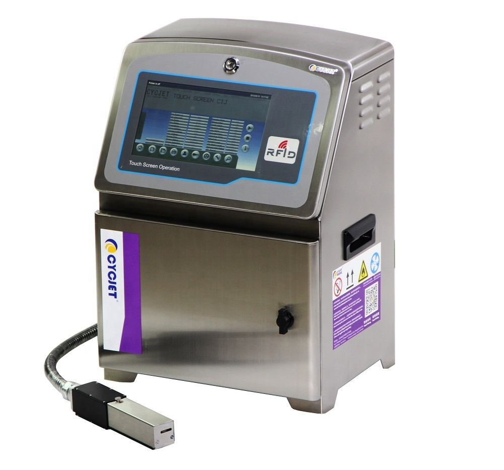 CYCJET Ink Jet Coder Printer with Permanent Ink for Bottle Expiry Date Printing