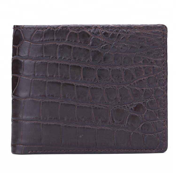 100% Genuine Grain Crocodile Leather short men wallet custom customized money cash luxury foldable slim wallets for man purses