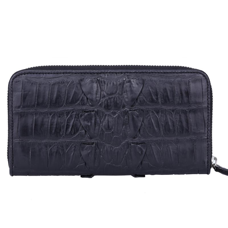 100% Genuine Grain Crocodile Leather Design ladies wallets for women fashionable zipper purses and handbag party luxury clutch