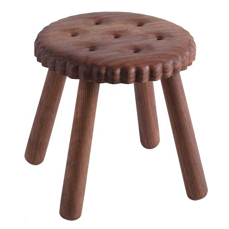 custom delicate small kids natural wooden stools cookie shape beech walnut wood stool