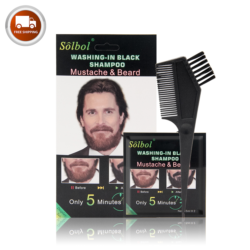 VOJO new package Ammonia Free black Beard Dye Color private brand Shampoo No Side Effects Dye Mustache Cream