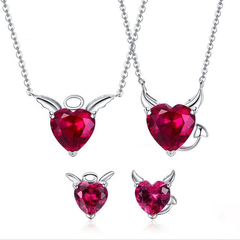 Women White Gold Plated 925 Sterling Silver Pendant Necklace Jewelry Set