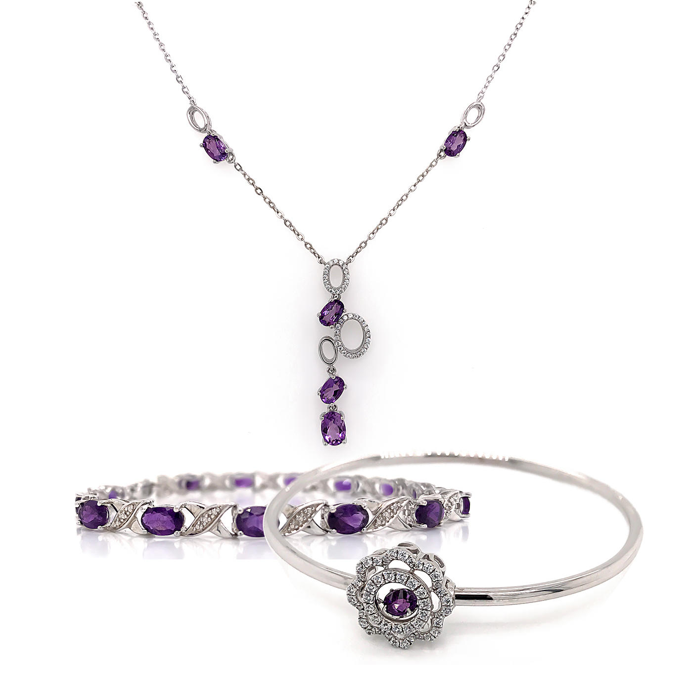 Geometric String Necklace, Amethyst Letter Bracelet Jewelry Set
