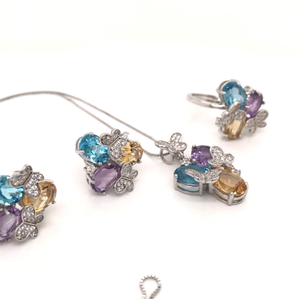 Big Fashion Costume Jewelry Set, Butterfly Design Three Color Big Stone Flower Jewelry Set