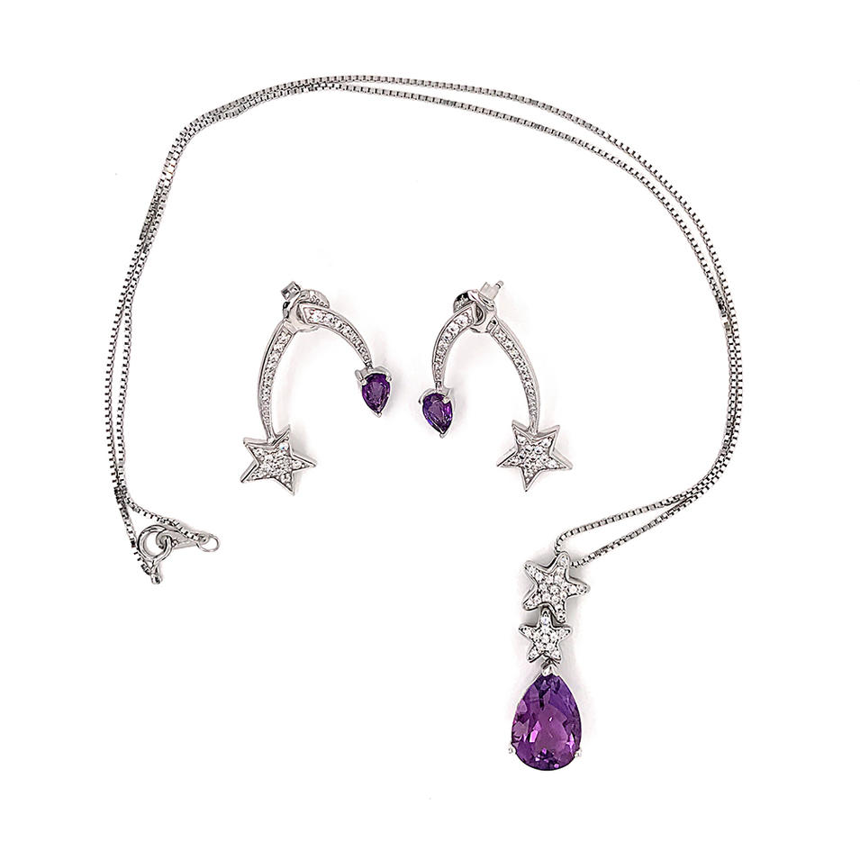 Purple Amethyst Star Design China Wholesale 925 Silver Jewelry Set