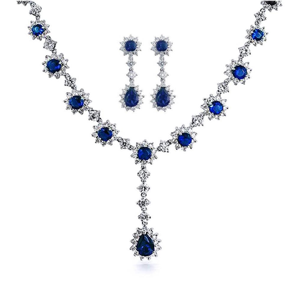 Flower jewellery cz fashion silver earring necklace set