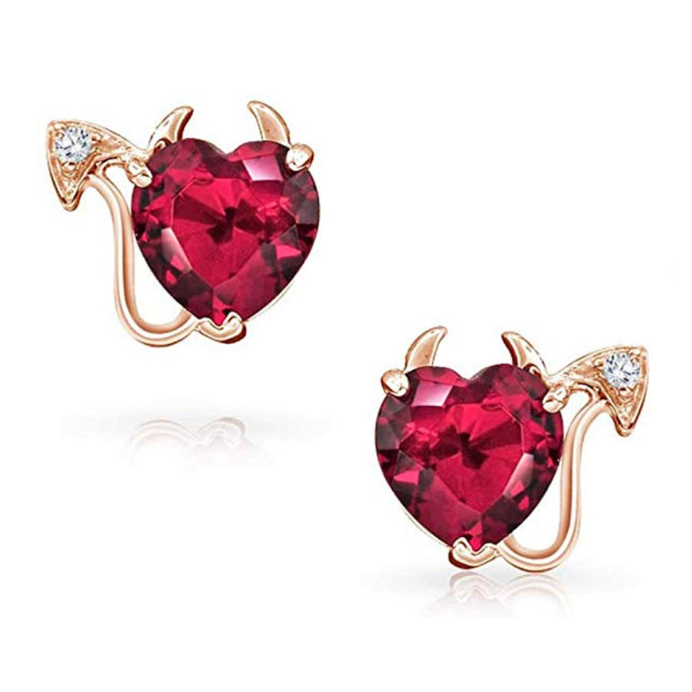 Red heart gemstone carved costume 18k gold plated jewelry set