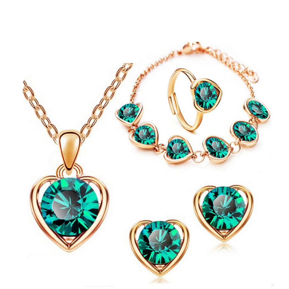 Heart engraved latest ring necklace bracelet set earring jewelry