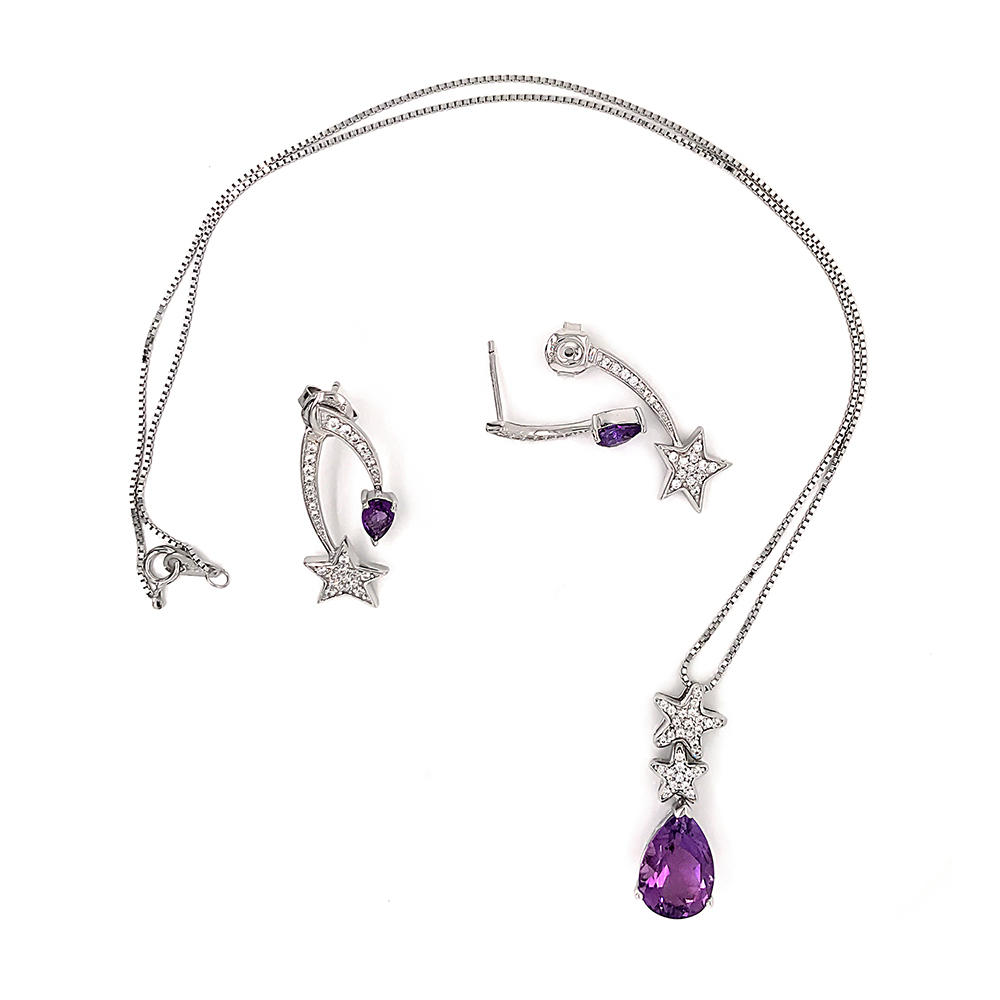 Purple Crystal 925 Silver Star Design Earrings, Necklace, Ring