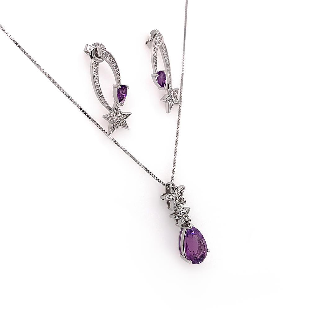 Purple Amethyst Star Design China Wholesale 925 Silver Jewelry Set